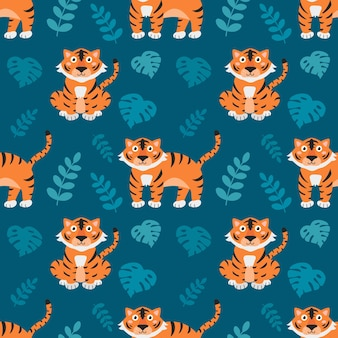 Cute little tigers with tropical plants on blue background, vector seamless pattern