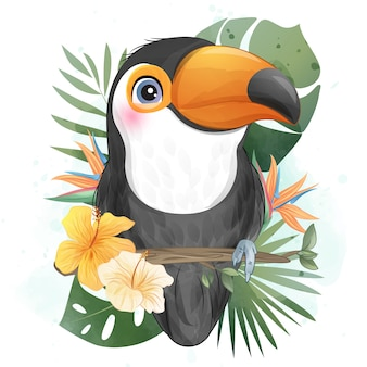 Cute little toucan with watercolor illustration