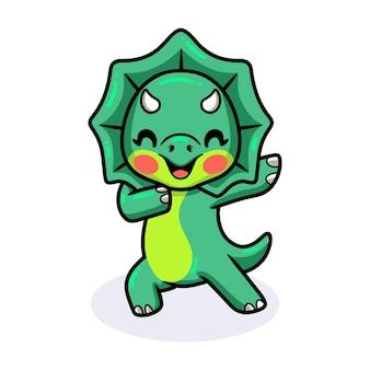 귀여운 작은 트리케라톱스 공룡 만화 춤