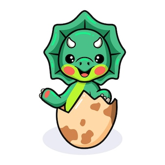 Cute little triceratops dinosaur cartoon hatching from egg