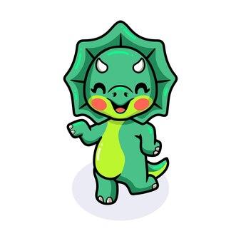 귀여운 작은 트리케라톱스 공룡 만화 포즈