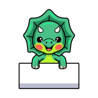 Cute little triceratops dinosaur cartoon with blank sign