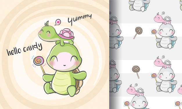 Cute little turtle seamless pattern illustration childish