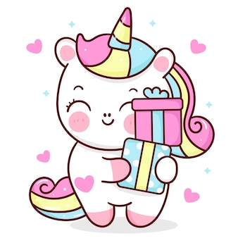 생일 선물을 들고 귀여운 유니콘 만화 조랑말 아기 귀여운 동물