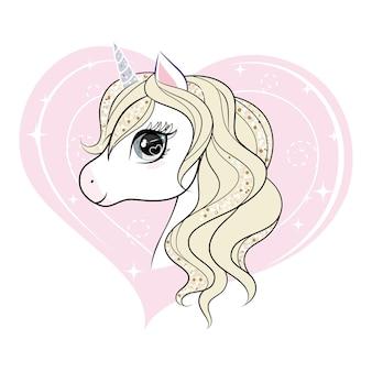 Милый маленький персонаж единорога над розовой формой сердца