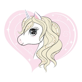 Cute little unicorn character over pink heart shape