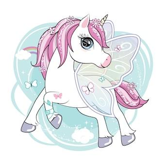 Милый маленький персонаж единорога с крыльями бабочки, летающими в небе.