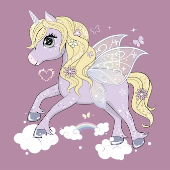 空を飛んでいる蝶の羽を持つかわいい小さなユニコーンのキャラクター。