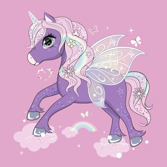Cute little unicorn character with butterfly wings flying in the skies