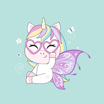 Cute little unicorn character with butterfly wings over green background.