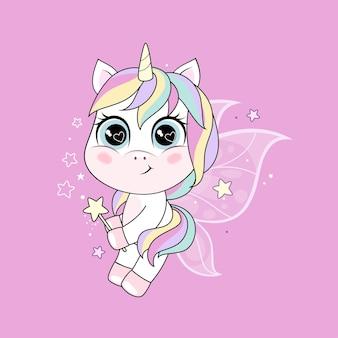 핑크 배경 위에 나비 날개를 가진 귀여운 작은 유니콘 캐릭터. 그림 흰색 배경에 고립입니다.