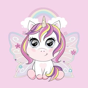 虹とピンクの背景に蝶の羽を持つかわいい小さなユニコーンのキャラクター