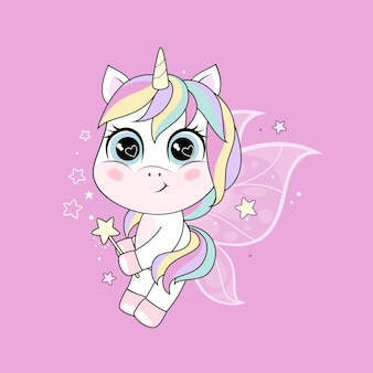 Cute little unicorn character with butterfly wings over pink background.  illustration isolated on white background.