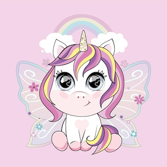 Cute little unicorn character with butterfly wings over pink background with rainbow