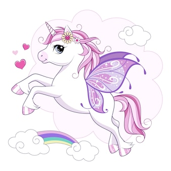 Cute little unicorn character with butterfly wings over pink