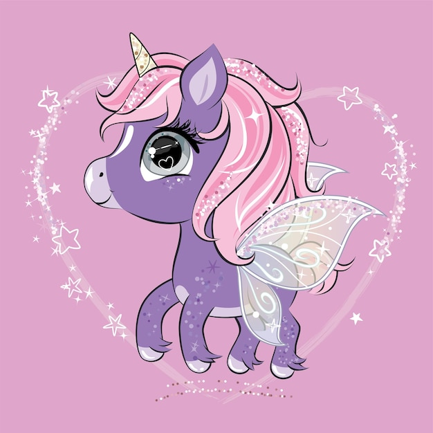 Cute little unicorn character with butterfly wings.