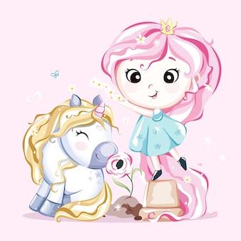 Милый маленький персонаж единорога с цветком и принцессой. вектор.