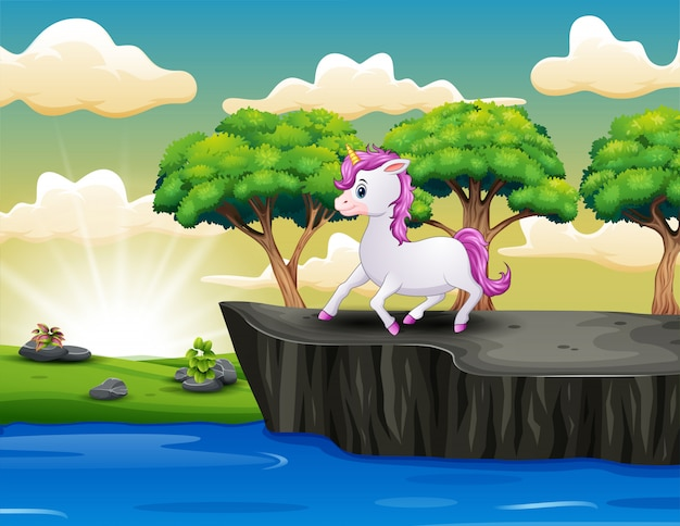 Cute little unicorn on the cliff