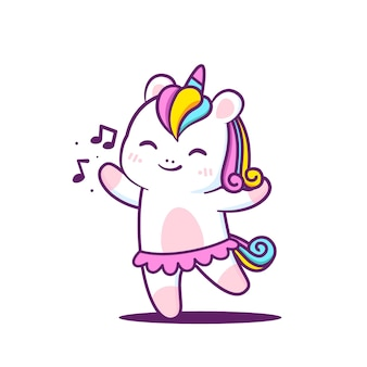Cute little unicorn dancing isolated in white