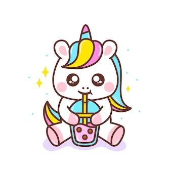 Милый маленький единорог пьет пузырьковый чай
