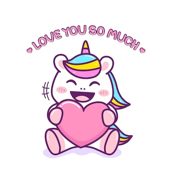 Cute little unicorn hug a heart
