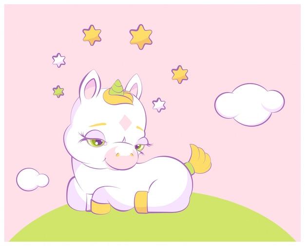 星冠にかわいい小さなユニコーンが牧草地にあります。
