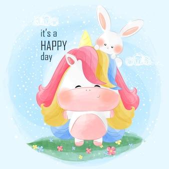 Cute little unicorn and little bunny