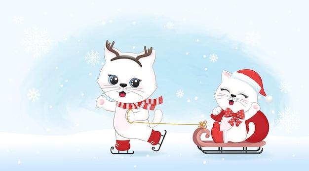 Милый маленький единорог тянет пингвина на санях зимой и рождеством