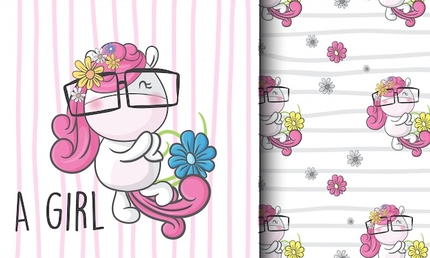 Cute little unicorn seamless pattern illustration childish