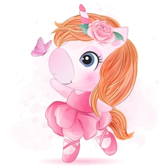 Cute little unicorn with ballet dance