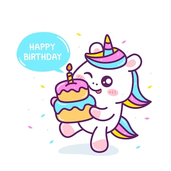 Cute little unicorn with birthday cake.