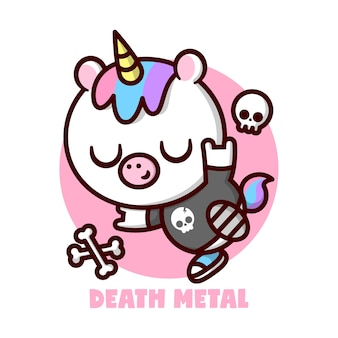Cute little unicorn with colorful hair and yellow horn and wearing black tee with a skull logo   cartoon character and mascot