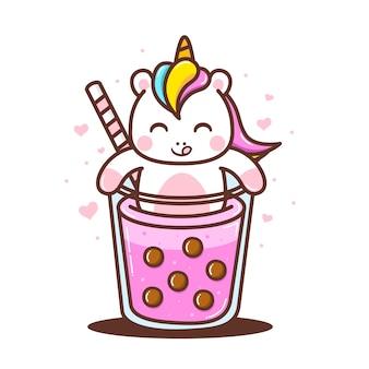 귀여운 거품 음료와 함께 귀여운 작은 유니콘