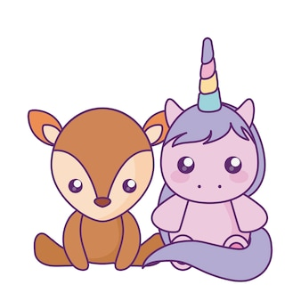 Cute little unicorn with reindeer baby character