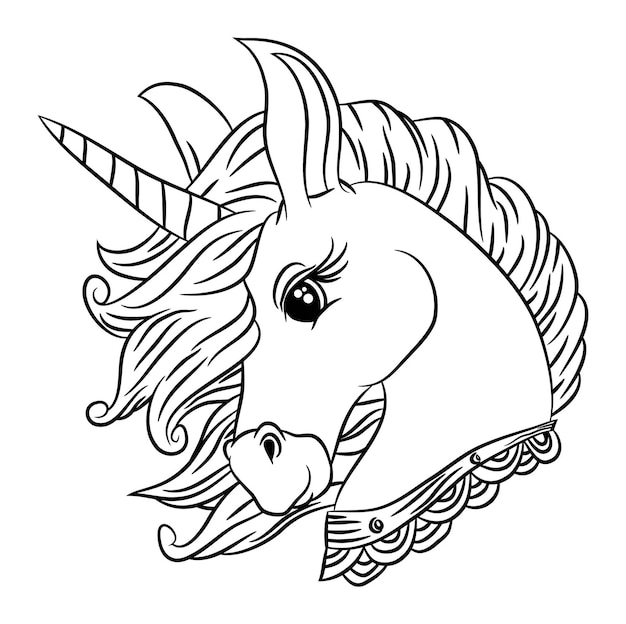 Cute little unicorns, cartoon animal, coloring books for kids