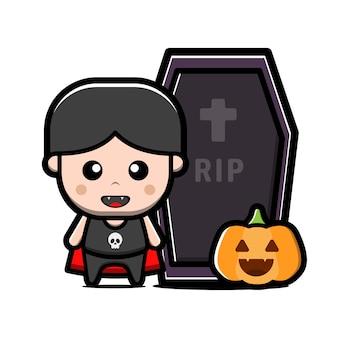 Cute little vampire character. halloween concept