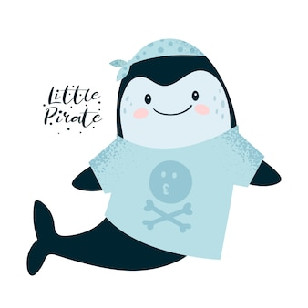 Cute little whale, dolphin pirate
