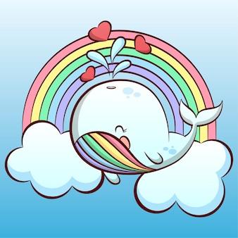 Милый маленький кит в небе