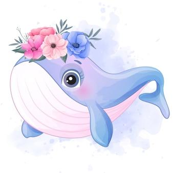 Милый маленький кит с эффектом акварели