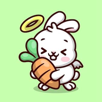 귀여운 작은 흰색 토끼 천사는 큰 신선한 당근을 들고 있습니다 고품질 만화 마스코트 디자인