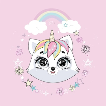 Cute little white cat unicorn or caticorn head in round frame with flowers and stars and with rainbow. pastel soft colors.