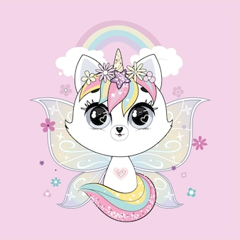 Cute little white cat unicorn or caticorn with butterfly wings over wall with rainbow. pastel soft colors.