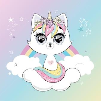 かわいい小さな白い猫のユニコーンまたは虹パステルの柔らかい色で背景の上の猫