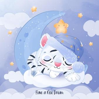 Cute little white tiger sleeping illustration