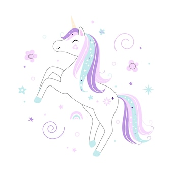 Cute little white unicorn pastel soft colors