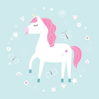 Cute little white unicorn. pastel soft colors.