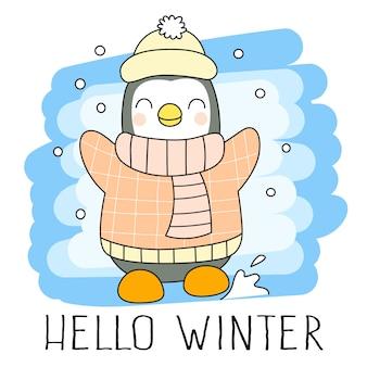 Cute little winter penguin cartoon character