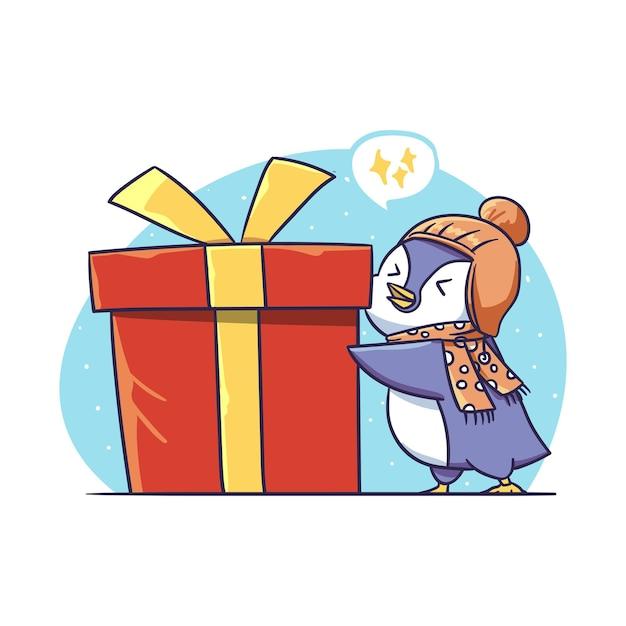 Милый маленький зимний пингвин персонаж держит большой настоящий коробку наклейку иллюстрации