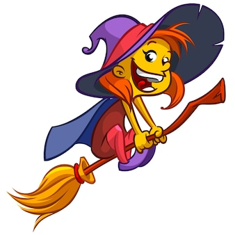 Cute little witch flying on her broom on white background