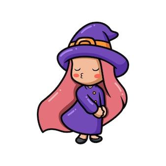 Милая маленькая ведьма девушка мультфильм дует воздушный поцелуй